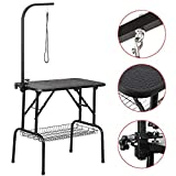 Yaheetech Pet Dog Grooming Table Adjustable Height - 32' Drying Table w/Arm/Noose/Mesh Tray for Small Dogs Cats Portable Non-Slip Maximum Capacity Up to 220lbs Black