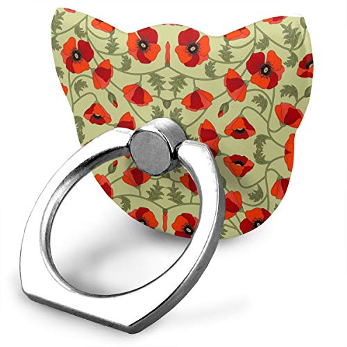 Ubnz79X Poppies Red Phone Ring Grip & Stand, for All Phones/Tablets - 360 Rotate - Never Drop Your