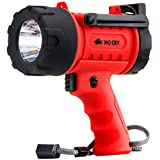 NoCry 18W Waterproof Rechargeable Flashlight (Spotlight) with 1000 Lumen LED, Detachable Red Light Filter, Wall and Car Charger Attachments