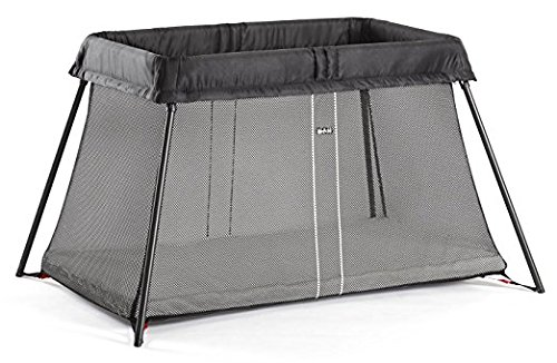 BabyBjörn Travel Crib Light: Easy Fold Portable Crib, Play Yard + Play Pen with Soft Mattress and Carrying Case - Silver