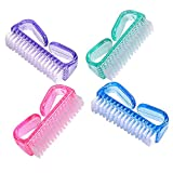 Handle Grip Nail Brush, Fingernail Scrub Cleaning Brushes for Toes and Nails Cleaner, Pedicure Brushes for Men and Women 4 Pack by NATUREBELLE