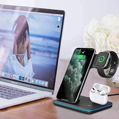 UNIGEN-UNIDOCK-3-in-1-15W-Qi-Certified-Fast-Wireless-Charging-Station-for-iWatch-Series-65432-AirPods-12Pro-iPhone-1212pro11XS-MAXXRXSX88-PlusSamsung-Other-Qi-Devices-Black-
