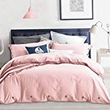 Hemau Twin Set Pink, 68x90 Soft Solid Bedding Cover, Luxury Lightweight Microfiber 2pc Set with Zip, Ties - Best Modern Style Comforter Quilt Cover for Kids Men & Women, Pink | Style 503193565