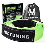 MICTUNING Recovery Tow Strap, 3 inches x 20ft Heavy Duty Lab Tested 39670lbs Strength, with Triple Reinforced Loops Protective Sleeves, Emergency Off Road 4x4 Towing