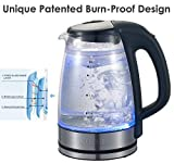 [Factory Store] Queen Sense Electric Double Wall Glass Kettle Coffee Pot 1.7 Liter Cordless with LED Light BPA-Free with Auto Shut-Off, and Boil-Dry Protection (GK1501)