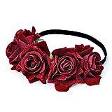DreamLily Rose Flower Crown Wedding Festival Headband Hair Garland Wedding Headpiece (1-Burgundy)