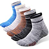 FEIDEER 5-Pack Men's Hiking Athletic Socks Wicking Cushioned Quarter Sports Socks