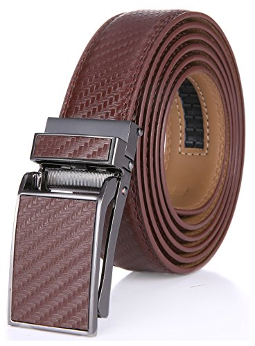 Marino Avenue Men's Genuine Leather Ratchet Dress Belt with Linxx Buckle, Enclosed in an Elegant Gift Box - Tan Weave Design Leather Buckle with Tan Leather - Adjustable from 28' to 44' Waist