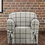 BrylaneHome Highland Plaid Relaxed-Fit Chair Slipcover - Gray