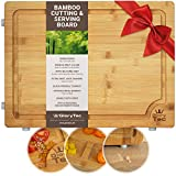 EXTRA LARGE Bamboo Cutting Board for Kitchen - Wide Groove on one side reversible with 2 Compartments for different foods - (16' x 12' x 0.8') Professional Grade Cuttingboard, Butcher Block