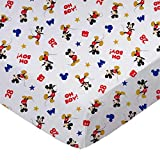 SheetWorld Fitted 100% Cotton Percale Stroller Bassinet Sheet 13 x 29, Oh Boy Mickey Mouse, Made in USA