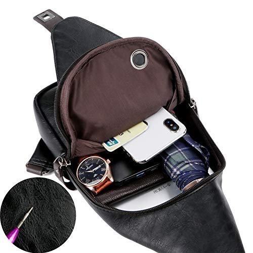 Alena Culian Sling Backpack Men Leather Chest Bag Crossbody Shoulder Bag For Men(black) 18 Fashion Online Shop gifts for her gifts for him womens full figure
