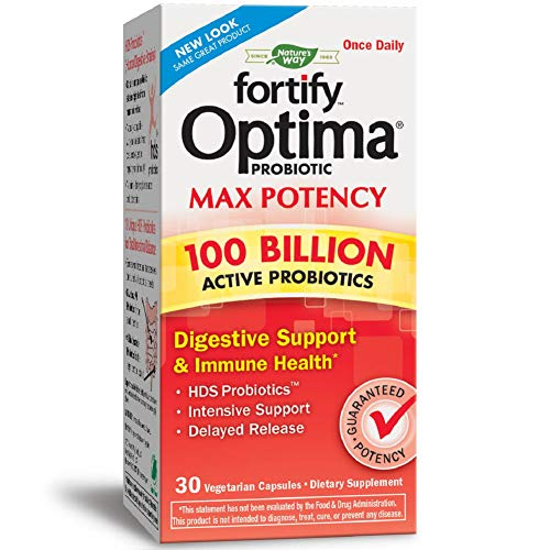 Nature's Way Primadophilus Optima Max Potency 100 Billion Active Probiotics Digestive Support & Immune Health, 30 Enteric Coated Vcaps (Refrigerate to maintain maximum potency)