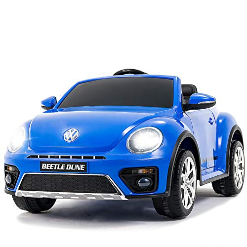 Uenjoy Kids Ride on Volkswagen Cars 12v Battery Power Kids Electric Vehicles with Wheels Suspension, Lovely VW Beetle Kid's Vehicles Cars Double-Drive Car for Kids W/ Remote Control, Double Door,Blue
