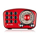 Vintage Radio Retro Bluetooth Speaker - Mifine FM Radio with Old Fashioned Classic Style, Strong Bass Enhancement, Loud Volume, Supports Bluetooth 4.2 AUX TF Card MP3 Player (Red)