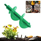 m·kvfa Planter Garden Auger Spiral Drill Bit Planting Hole Digger Drill Bit Perfect Bulb Planting Auger for Tulips Iris Bulbs Bedding Plants and Seedlings (25 x 8 cm)