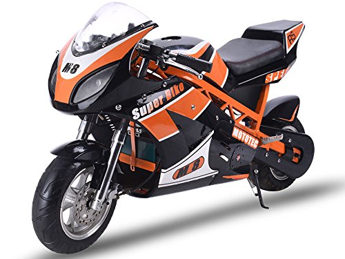 MotoTec 1000w 48v Electric White Superbike Leather Seat Kickstand Key Age 16 + (Black)