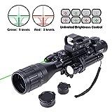 Hiram 4-16x50 AO Rifle Scope Combo with Green Laser, Reflex Sight, and 5 Brightness Modes Flashlight