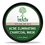 TreeActiv Acne Eliminating Charcoal Mask, Natural Clay Face Mask to Detox Pores & Protect, Treat Oily Skin, Blackheads & Acne, Bentonite Clay, Baking Soda, Activated Charcoal, Essential Oils