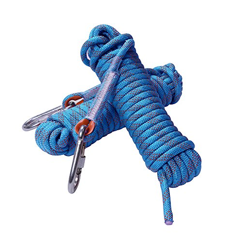Rock Climbing Rope, 12mm Diameter Outdoor Hiking Accessories High Strength Cord Safety Rope(10m,32ft)(20m,64ft) (30m,94ft) (Blue, 64ft)