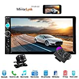 Hikity 7' Double Din Car Stereo Audio Bluetooth MP5 Player USB FM Car Multimedia Radio Support Android Phone Mirror Link + Rearview Camera & Car Steering Wheel Remote