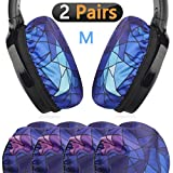 Geekria Flex Fabric Headphone Earpad Covers/Stretchable and Washable Sanitary Earcup Protectors. Fits 3'-4' Over-Ear Headset Ear Cushions/Good for Gym, Training (Diamond, 2 Pairs)