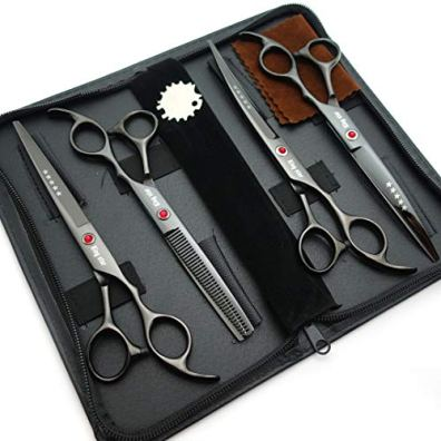 70in-Titanium-Professional-Dog-Grooming-Scissors-SetStraight-Thinning-Curved-Scissors-4pcs-Set-for-Dog-Grooming-Bright-Black