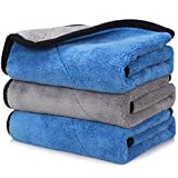"Happy Road Car Drying Towel, Microfiber Cleaning Cloth Lint Free, Premium Professional Soft Microfiber Towel, 16"" x 16"" Super Absorbent Towel for Car/Windows/Screen, Pack of 3"