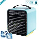 TUKNE Portable Air Conditioner Cooler Fan, Personal Space Air Cooler, Humidifier, Purifier 3 in 1 Evaporative Cooler, USB Rechargeable Mini Cooling Desktop Fan with LED Light, 3 Speeds