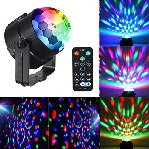 Mini Dj Disco Ball Party Stage Lights Sbolight Led 7Colors Effect Projector Karaoke Equipment for Stage Lighting With Remote Control Sound Activated for Dancing Christmas Gift KTV Bar Concert Birthday