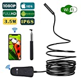Wireless Endoscope, Slopehill Wifi Borescope Inspection Camera 1080P HD 2MP | Semi-rigid Snake with Telescopic Rod | IP68 Waterproof 8 Leds | for Android and IOS iPhone, Smartphone, Tablet, PC - 11.5F