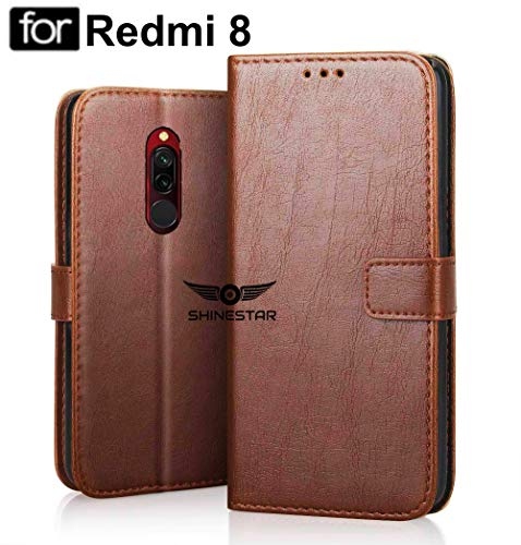 SHINESTAR PU Leather Flip Wallet Case with TPU Shockproof Cover for Mi Redmi 8 (Classic Brown, Mi Redmi 8) 159
