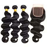 ZILING Hair Brazilian Virgin Body Wave Hair 3 Bundles with Closure 8A 100% Unprocessed Brazilian Body Wave Human Hair Weft with Lace Closure Brazilian Body Wave (16 18 20 w 16 free part)