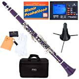 Mendini MCT-P Purple ABS B Flat Clarinet with Tuner, Case, Stand, Mouthpiece, 10 Reeds and More