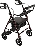 ProBasics Transport Rollator with Padded Seat, Burgundy, Easy Folding System, 8 Inch Wheels, Weight Capacity: 250 Pounds