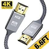4K HDMI Cable 6.6 ft,Capshi High Speed 18Gbps HDMI 2.0 Cable,4K, 3D, 2160P, 1080P, Ethernet - 28AWG Braided HDMI Cord - Audio Return(ARC) Compatible UHD TV, Blu-ray, Xbox, PS4, PS3, PC