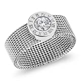 Designer Inspired Silver Titanium Steel Mesh Band Ring with Roman Numerals and Solitaire Swarovski Crystal (8)