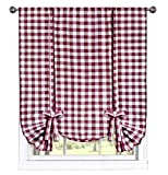 GoodGram Buffalo Check Plaid Gingham Custom Fit Window Curtain Treatments Assorted Colors, Styles & Sizes (Tie Up Shade, Burgundy)
