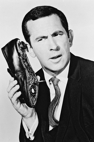 Get-Smart-BW-24X36-Poster-Don-Adams-With-Shoe-Phone