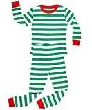 Elowel Striped 2 Piece Pajama Set Green & White Size 7