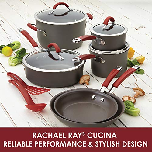 Rachael-Ray-Cucina-Hard-Anodized-Nonstick-Cookware-Pots-and-Pans-Set-12-Piece-Gray-with-Red-Handles