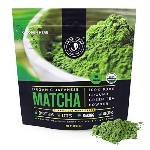 Jade Leaf Matcha Green Tea Powder – USDA Organic, Authentic Japanese Origin – Classic Culinary Grade (Smoothies, Lattes, Baking, Recipes) – Antioxidants, Energy [30g Starter Size]