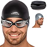 Adult Swim Goggles for Men and Women + Reversible Swimming Cap + Protective Case Set | Swimming Pool Goggles - Underwater Goggles - Swimming Glasses & Swim Goggles for Women & Men | Goggles Adult