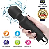 Upgraded Powerful Personal Wand Massager with 20 Vibration Modes, Whisper Quiet, Waterproof, Handheld, Cordless for Neck Shoulder Back Body Massage, Sports Recovery & Muscle Aches - Black