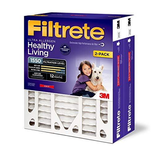 Filtrete 20x25x4(SlimFit), AC Furnace Air Filter, MPR 1550 DP, Healthy Living Ultra Allergen Deep Pleat, 2-Pack