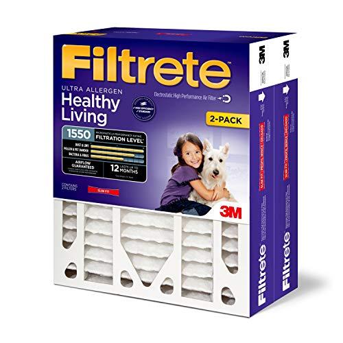 Filtrete 20x25x4(SlimFit), AC Furnace Air Filter, MPR 1550 DP, Healthy Living Ultra Allergen Deep Pleat, 2-Pack