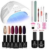 Beetles Full Maroon Gel Nail Polish Starter Kit with 48W UV/LED Light Nail Lamp Base Top Coat 3 Timer Setting, Soak Off Gel Polish Autumn Winter 6 Colors Manicure Tools Essentials Nail Art Gifts Box 4