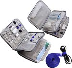 Electronics Organizer Travel Cable Cord Wire Bag Accessories Gadget Gear Storage Cases for 10.5 Inch Tablet (Light Gray)