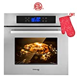 Wall Oven, Gasland chef ES611TS 24' Built-in Single Wall Oven, 11 Cooking Function, Stainless Steel Frame With American Black Glass Electric Wall Oven, ETL Safety Certified & Full Touch Control