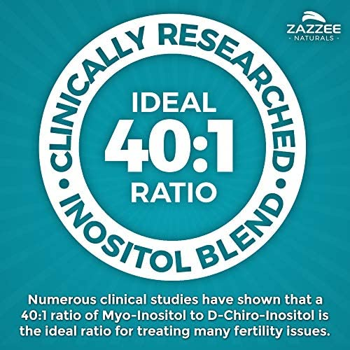 Zazzee PREGNOSITOL, 60 Day Supply, Premium Myo-Inositol, D-Chiro-Inositol, and Folic Acid Blend, Ideal 40:1 Ratio, 60 Easy-Tear Packets, Vegan, All Natural and Non-GMO 7